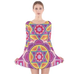Kali Yantra Inverted Rainbow Long Sleeve Velvet Skater Dress by Mariart