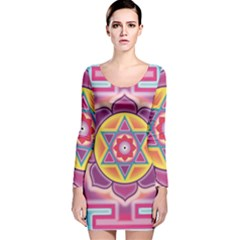 Kali Yantra Inverted Rainbow Long Sleeve Velvet Bodycon Dress by Mariart