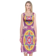 Kali Yantra Inverted Rainbow Midi Sleeveless Dress by Mariart