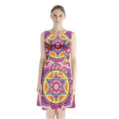Kali Yantra Inverted Rainbow Sleeveless Waist Tie Chiffon Dress by Mariart
