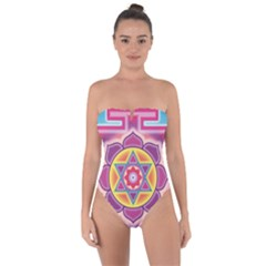 Kali Yantra Inverted Rainbow Tie Back One Piece Swimsuit by Mariart