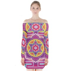 Kali Yantra Inverted Rainbow Long Sleeve Off Shoulder Dress by Mariart