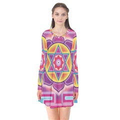 Kali Yantra Inverted Rainbow Flare Dress by Mariart