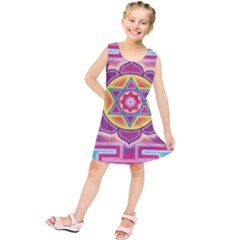 Kali Yantra Inverted Rainbow Kids  Tunic Dress by Mariart