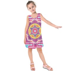 Kali Yantra Inverted Rainbow Kids  Sleeveless Dress by Mariart