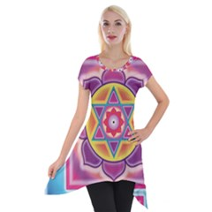 Kali Yantra Inverted Rainbow Short Sleeve Side Drop Tunic by Mariart