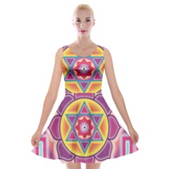 Kali Yantra Inverted Rainbow Velvet Skater Dress by Mariart