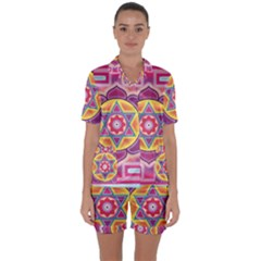 Kali Yantra Inverted Rainbow Satin Short Sleeve Pyjamas Set by Mariart