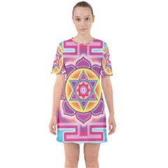 Kali Yantra Inverted Rainbow Sixties Short Sleeve Mini Dress by Mariart