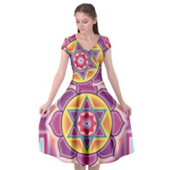 Kali Yantra Inverted Rainbow Cap Sleeve Wrap Front Dress by Mariart