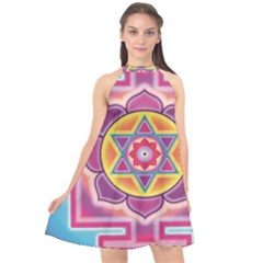 Kali Yantra Inverted Rainbow Halter Neckline Chiffon Dress  by Mariart
