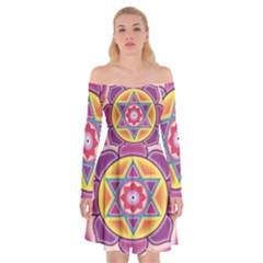 Kali Yantra Inverted Rainbow Off Shoulder Skater Dress by Mariart