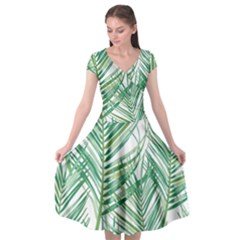 Jungle Fever Green Leaves Cap Sleeve Wrap Front Dress by Mariart