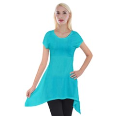 Line Blue Short Sleeve Side Drop Tunic by Mariart