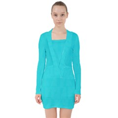 Line Blue V Neck Bodycon Long Sleeve Dress by Mariart