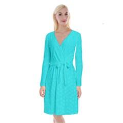 Line Blue Long Sleeve Velvet Front Wrap Dress by Mariart