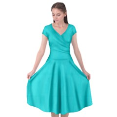 Line Blue Cap Sleeve Wrap Front Dress by Mariart
