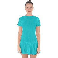 Line Blue Drop Hem Mini Chiffon Dress