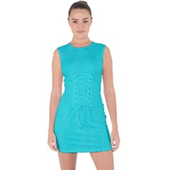 Line Blue Lace Up Front Bodycon Dress by Mariart
