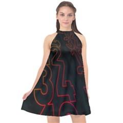 Neon Number Halter Neckline Chiffon Dress