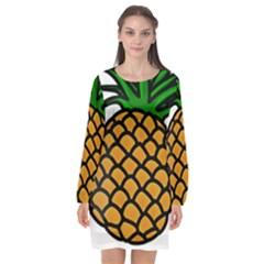 Pineapple Fruite Yellow Green Orange Long Sleeve Chiffon Shift Dress  by Mariart