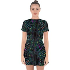 Colorful Geometric Electrical Line Block Grid Zooming Movement Drop Hem Mini Chiffon Dress by Mariart