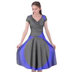 Pure Energy Black Blue Hole Space Galaxy Cap Sleeve Wrap Front Dress