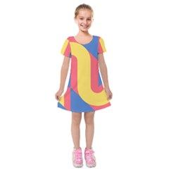 Rainbow Sign Yellow Red Blue Retro Kids  Short Sleeve Velvet Dress by Mariart