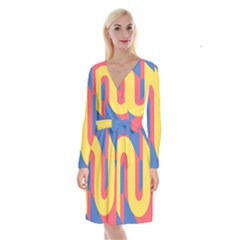 Rainbow Sign Yellow Red Blue Retro Long Sleeve Velvet Front Wrap Dress by Mariart