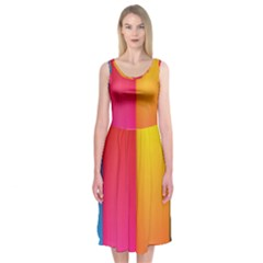 Rainbow Stripes Vertical Lines Colorful Blue Pink Orange Green Midi Sleeveless Dress