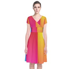 Rainbow Stripes Vertical Lines Colorful Blue Pink Orange Green Short Sleeve Front Wrap Dress