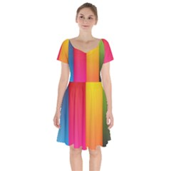 Rainbow Stripes Vertical Lines Colorful Blue Pink Orange Green Short Sleeve Bardot Dress