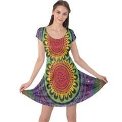 Rainbow Mandala Circle Cap Sleeve Dress by Mariart