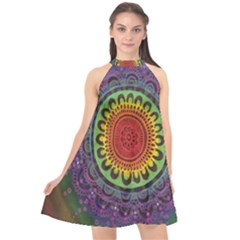 Rainbow Mandala Circle Halter Neckline Chiffon Dress  by Mariart