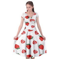 Red Fruit Strawberry Pattern Cap Sleeve Wrap Front Dress