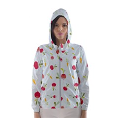 Root Vegetables Pattern Carrots Hooded Wind Breaker (women) by Mariart