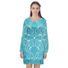 Repeatable Patterns Shutterstock Blue Leaf Heart Love Long Sleeve Chiffon Shift Dress