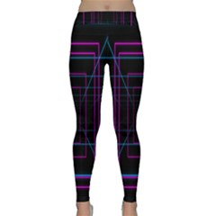 Retro Neon Grid Squares And Circle Pop Loop Motion Background Plaid Purple Classic Yoga Leggings by Mariart