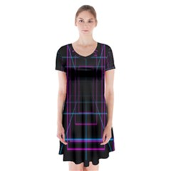 Retro Neon Grid Squares And Circle Pop Loop Motion Background Plaid Purple Short Sleeve V Neck Flare Dress by Mariart