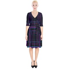 Retro Neon Grid Squares And Circle Pop Loop Motion Background Plaid Purple Wrap Up Cocktail Dress by Mariart