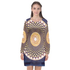 Sahasrara Blue Long Sleeve Chiffon Shift Dress