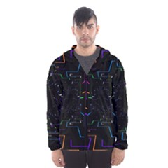 Seamless 3d Animation Digital Futuristic Tunnel Path Color Changing Geometric Electrical Line Zoomin Hooded Wind Breaker (men)