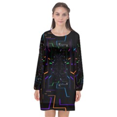 Seamless 3d Animation Digital Futuristic Tunnel Path Color Changing Geometric Electrical Line Zoomin Long Sleeve Chiffon Shift Dress  by Mariart