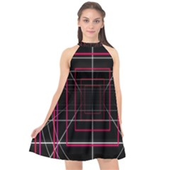 Retro Neon Grid Squares And Circle Pop Loop Motion Background Plaid Halter Neckline Chiffon Dress