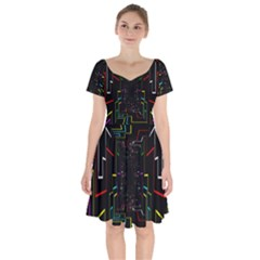 Seamless 3d Animation Digital Futuristic Tunnel Path Color Changing Geometric Electrical Line Zoomin Short Sleeve Bardot Dress by Mariart