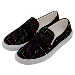 Seamless 3d Animation Digital Futuristic Tunnel Path Color Changing Geometric Electrical Line Zoomin Men s Canvas Slip Ons by Mariart