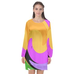 Spiral Digital Pop Rainbow Long Sleeve Chiffon Shift Dress