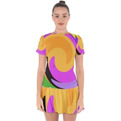 Spiral Digital Pop Rainbow Drop Hem Mini Chiffon Dress by Mariart