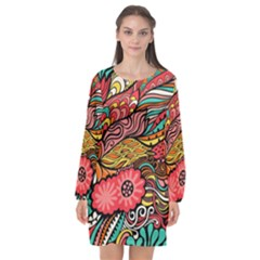 Seamless Texture Abstract Flowers Endless Background Ethnic Sea Art Long Sleeve Chiffon Shift Dress