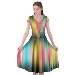 Sound Colors Rainbow Line Vertical Space Cap Sleeve Wrap Front Dress by Mariart